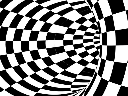 Black and white hypnotic tunnel made in 3d software photo