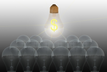 conceptual digital light bulb with text dollar   made in 3d software Stock Photo - 19866364
