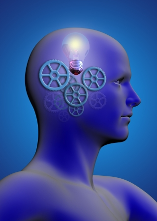 profile of a man with gears and a light bulb inside his head photo