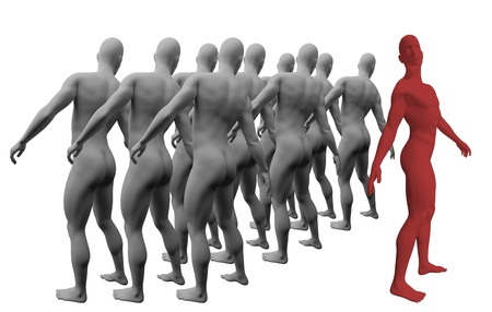Standing Out From The Crowd made in 3d software Stock Photo - 19866677