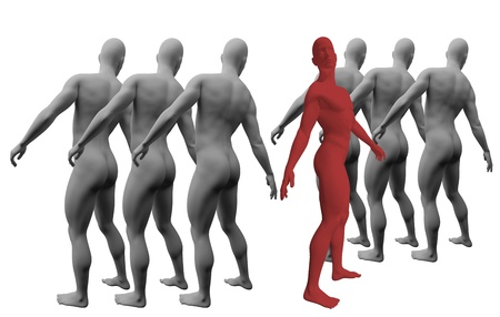 Standing Out From The Crowd made in 3d software Stock Photo - 19866674