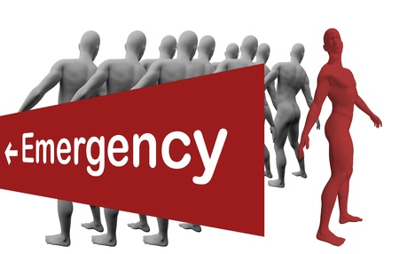 Standing Out From The Crowd with text emergensy made in 3d software Stock Photo - 19866650