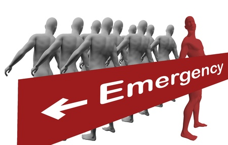 Standing Out From The Crowd with text emergensy made in 3d software Stock Photo - 19866652