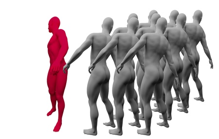 Standing Out From The Crowd made in 3d software Stock Photo - 19866660