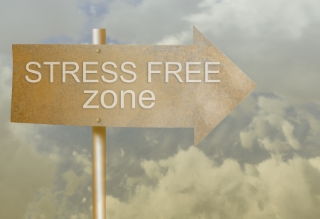 sign direction made with rust metal with text stress zone  made in 2d software Stock Photo