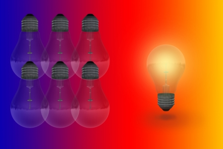 One glowing bulb which illustrates  standing out from the others Stock Photo - 19855963