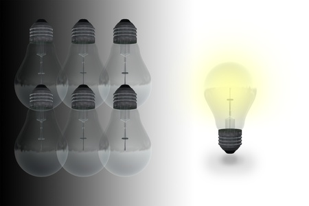One glowing bulb which illustrates  standing out from the others Stock Photo - 19866354