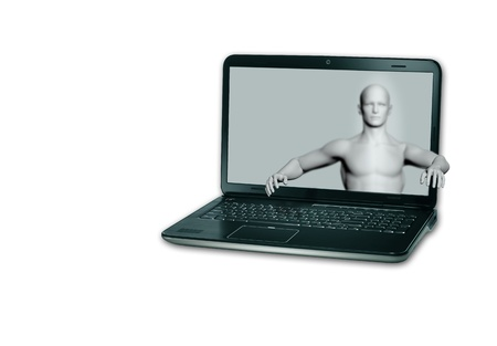 A virtual  man holds out his hand from lap top Monitor Stock Photo - 20095753