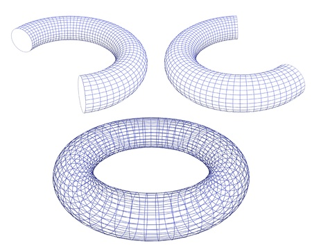 3d torus shapes  wireframe ready for editing and simple for every design  isolated on white background