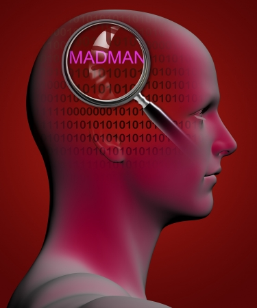madman: profile of a man with close up of magnifying glass on MADMAN  made in 3d software Stock Photo