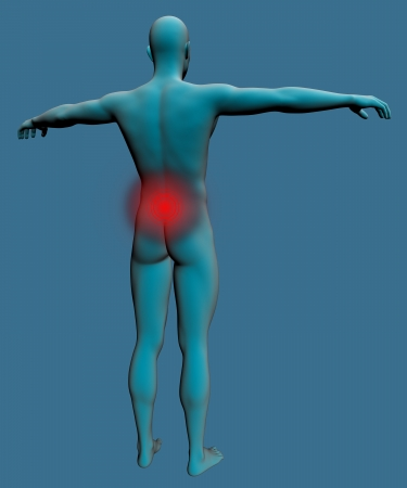 Human body with a visible pain in the lower back photo