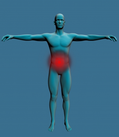 Human body with a visible pain in the stomach Stock Photo - 20095754
