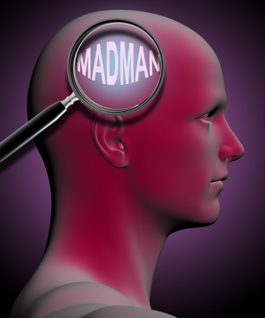 madman: profile of a man with close up of magnifying glass on Madman    made in 3d software