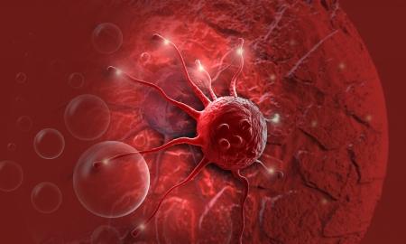 canc�rologie: cellule canc?reuse fait dans un logiciel 3D Banque d'images