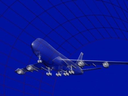 Simulation of an aircraft model being analyzed in wind tunnel for aerodynamic effects on its structure