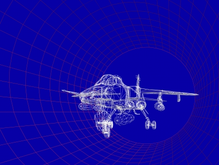 analyzed: Simulation of an aircraft model being analyzed in wind tunnel for aerodynamic effects on its structure