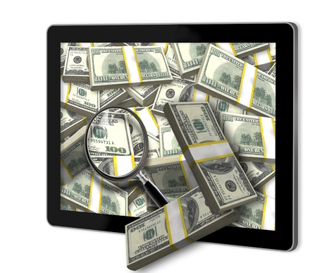 Money pouring out from a tablet photo