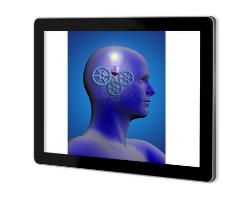 stimulated: profile of a man with gears and a light bulb inside his head  show  on tablet Stock Photo