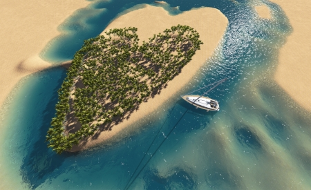 Paradise tropical island in the form of heart photo