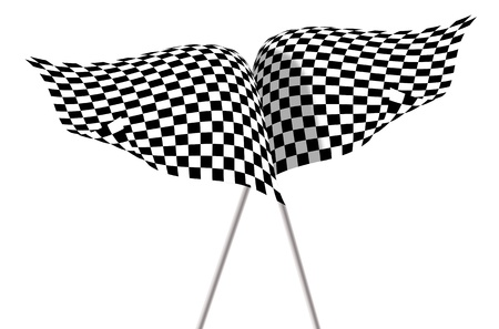 sidecar motocross racing: Large Checkered Flags Stock Photo