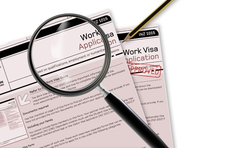 Close-up of work visa application document for temporary stay approved