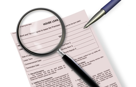 Close up of lease agreement empty document with pen on it Stock Photo