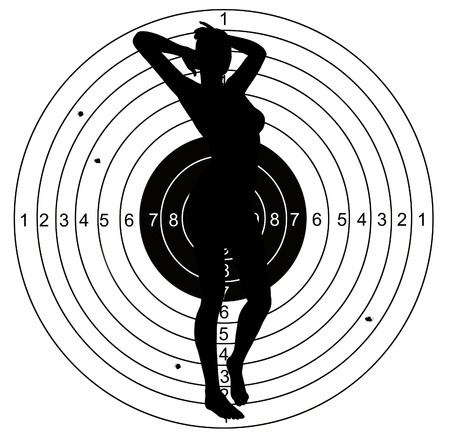 Female Shooting target with holes pierced by bullets Stock Photo