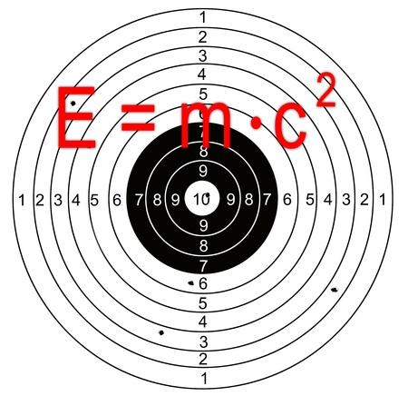 shooting target: e = mc2 Shooting doel met gaten doorboord door kogels Stockfoto