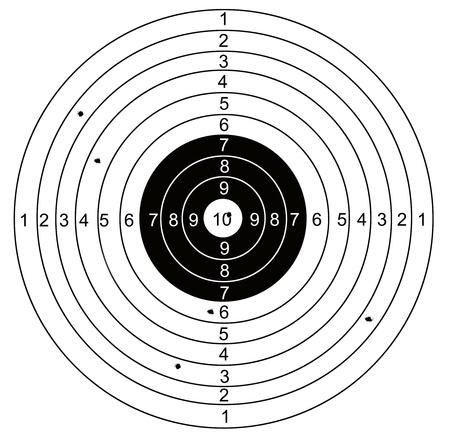 shooting target: Schieten doel, met gaten doorboord door kogels
