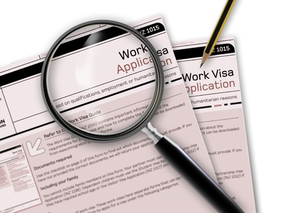Close-up of work visa application document for temporary stay