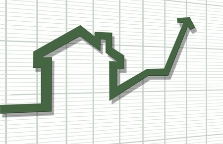 3d render of rising arrow, shaped like a house Stock Photo