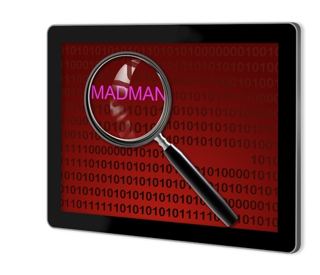 madman: close up of magnifying glass on madman on screen of tablet  made in 3d software Stock Photo
