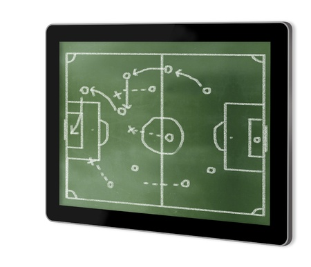 greenboard: game plan on greenboard on screen of tablet  made in 3d software