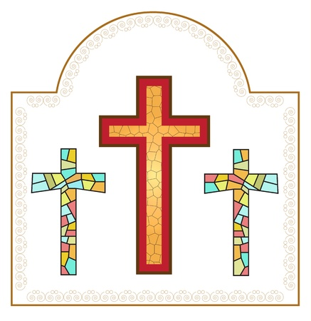 crosses   made from stained glasses  in 2d software Vector