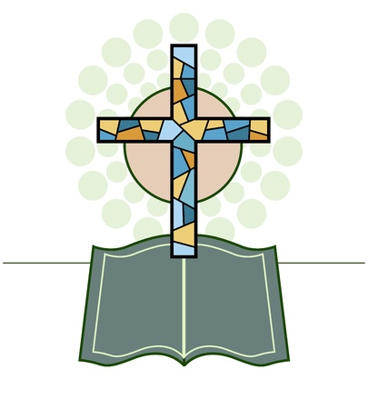 Cross & Bible Religious made in 2d software Illustration