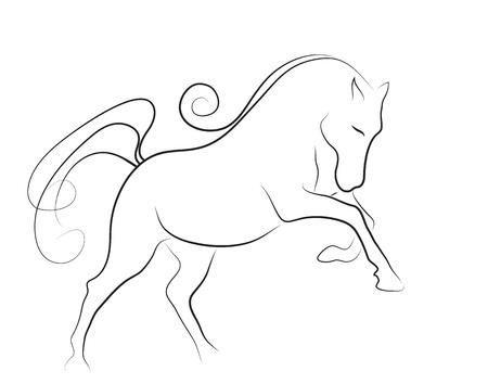 最小限のスタイルで行われるエレガントな馬  イラスト・ベクター素材