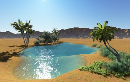 Oasis in the desert made in 3d software 版權商用圖片 - 21513553