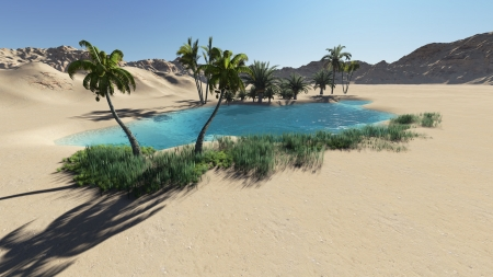 Oasis in the desert made in 3d software 版權商用圖片 - 21513530