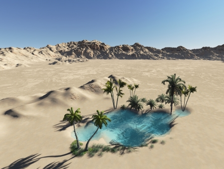 desert oasis: Oasis in the desert made in 3d software Stock Photo