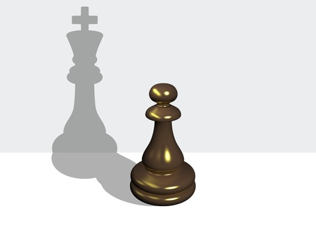 Chess pawn with the shadow of a king made in 3d software