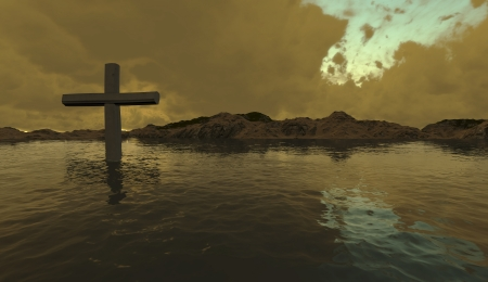 one  cross in water  made in 3d software photo