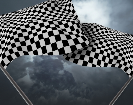 sidecar motocross racing: Two large Checkered Flag Stock Photo