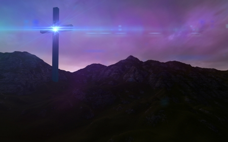 Wooden cross in night Stock Photo