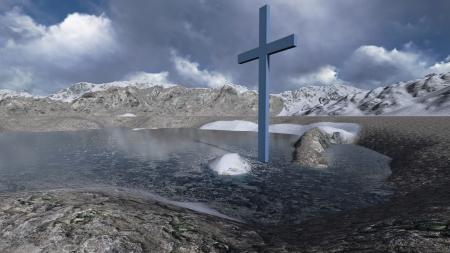 easter cross: Wooden cross in winter Stock Photo