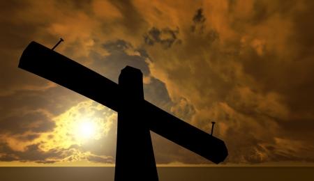 Black cross against the sky photo