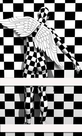 beautifu: Black end White checkered angel