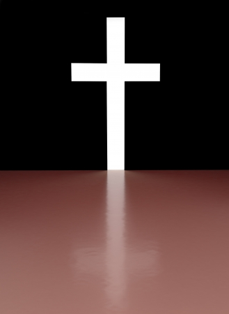 shafts: Cross with light shafts Stock Photo