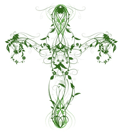 believer: Green Floral Cross on white Stock Photo