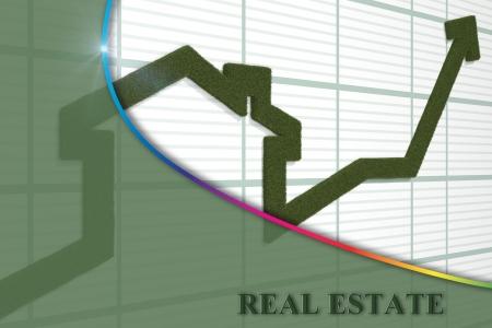 3d render of rising arrow, shaped like a house 版權商用圖片