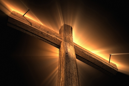 the christ: Wooden cross Stock Photo